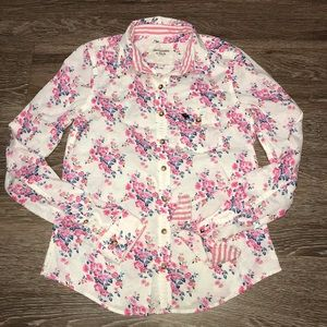 Abercrombie & Fitch White Floral Button Up, Small